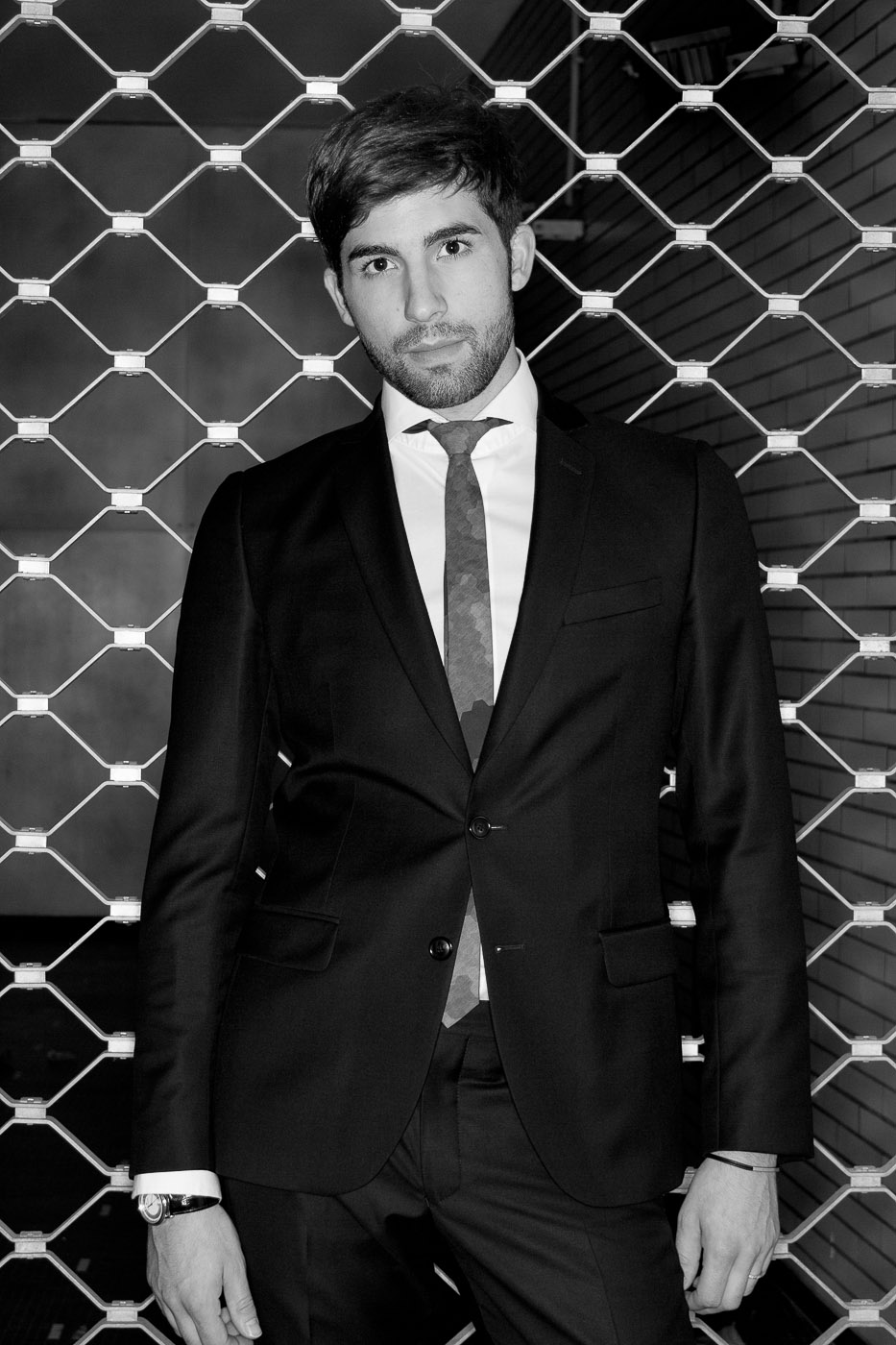 heartthrob male portrait night bw