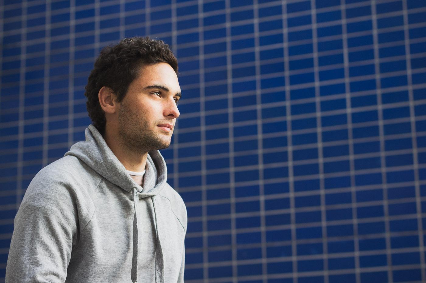 portrait male sportsman blue
