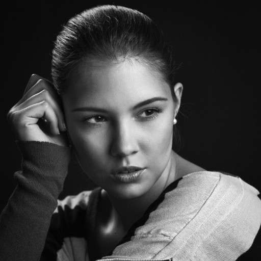 portrait female young bw