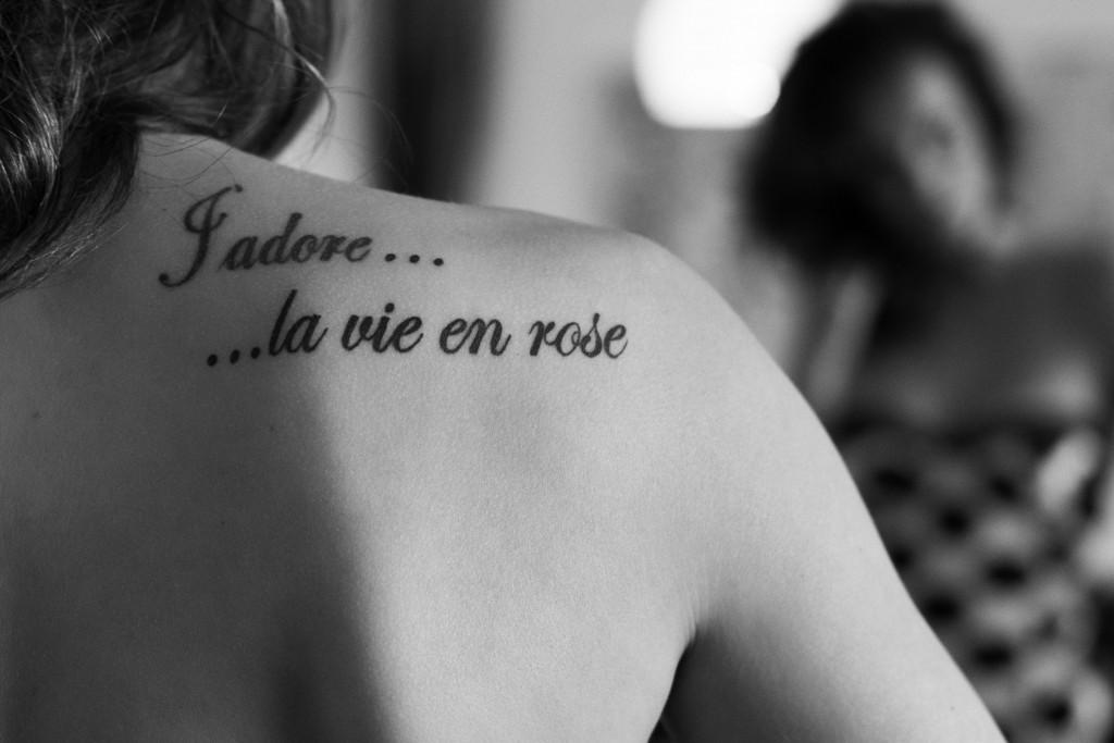 la vie on rose tatoo black+white