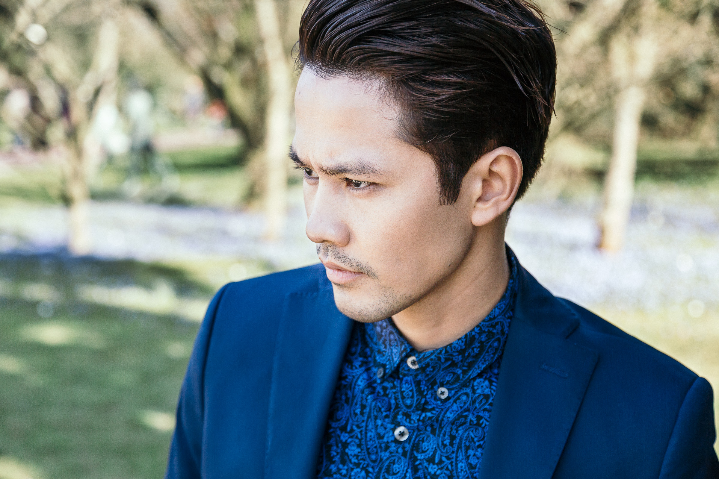 portrait man spring blue fashion